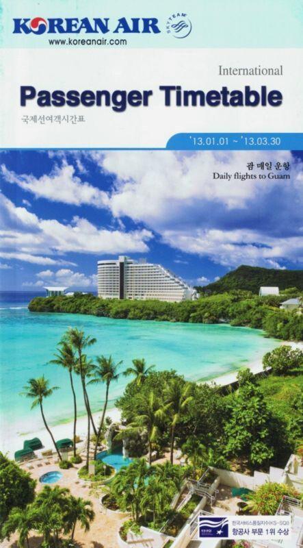 Korean Air Timetable January 1, 2013