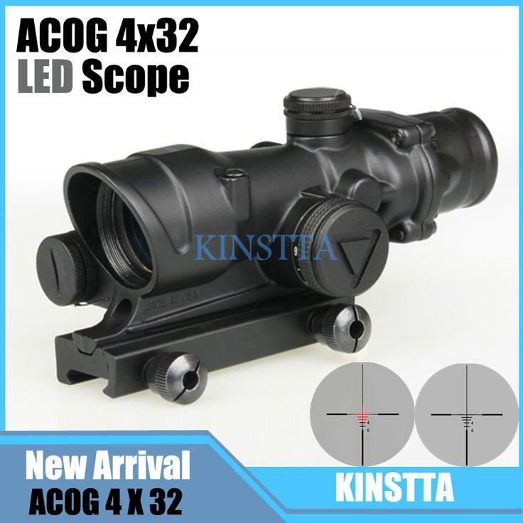 Tactical Trijicon ACOG 4x32 Style LED Scope HD Sight Scope Illuminated RifleScope Fit 20mm Picatinny Rail For Hunting