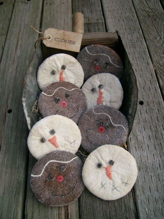 Aged Snowman and Gingerbread Man Christmas Cookies, Bowl Fillers, Tucks, Ornies, Cupboard Dolls E  pattern on Etsy, $2.00
