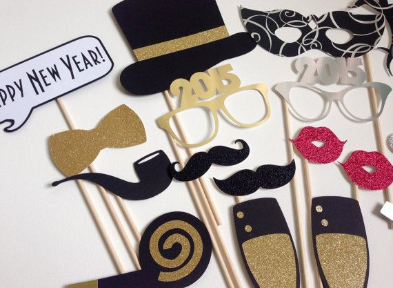 SALE TODAY ONLY 2016 Now Available New Years Photo Booth Props . New Years Eve . Glitter . Metallic . Silver . Gold . Set of 18