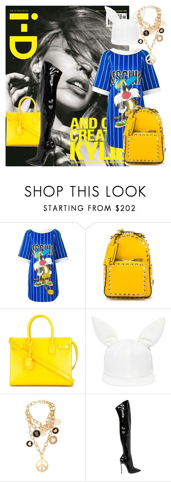 """""""Baddie!"""" by strangeviolet ❤ liked on Polyvore featuring Moschino, Valentino, Yves Saint Laurent, Federica Moretti and Casadei"""