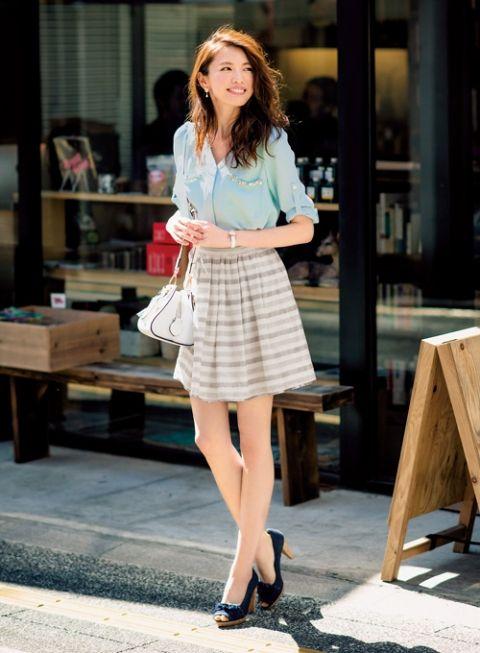 【着まわしday12】ミントグリーンブラウス×ボーダースカート | ファッション コーディネート | with online on ウーマンエキサイト