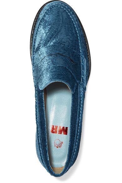 MR by Man Repeller - The Alternative To Bare Feet Embossed Velvet Loafers - Light blue - IT