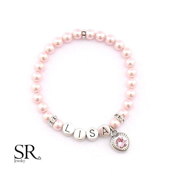 Armbänder - Namensarmband Perlen Beste Freundin Geschenk rosé rosa Herz Schwester Hochzeit - ein Designerstück von sweetrosy bei DaWanda