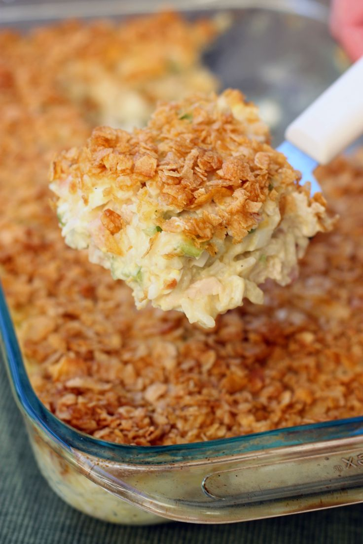 Chicken casserole is a classic for cookout potluck dishes. #Chicken #PotLuck #Casserole