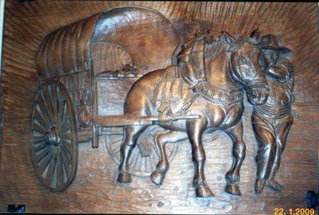 retablo tallado en madera de TILO. 50 X 42X4.
