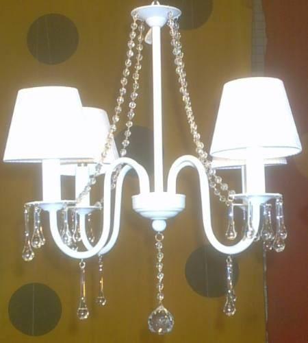 Resultado de imagen para lampara araña pintada blanco 3 luces con caireles