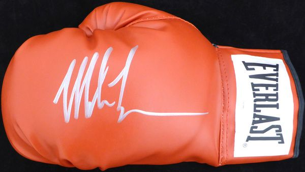 Mike Tyson Autographed Red Everlast Boxing Glove LH Signed In Silver TriStar