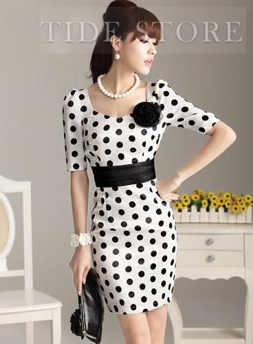 USD$ 28.49 Slim Polka Dots Half Sleeves Dress : tidestore.com