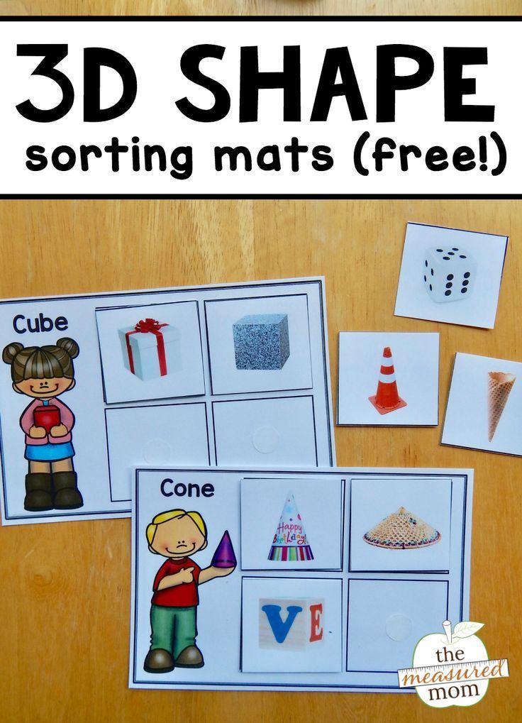 Free 3D Shape sorting mats - The Measured Mom