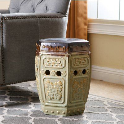 World Menagerie Omara Embossed Ceramic Garden Stool