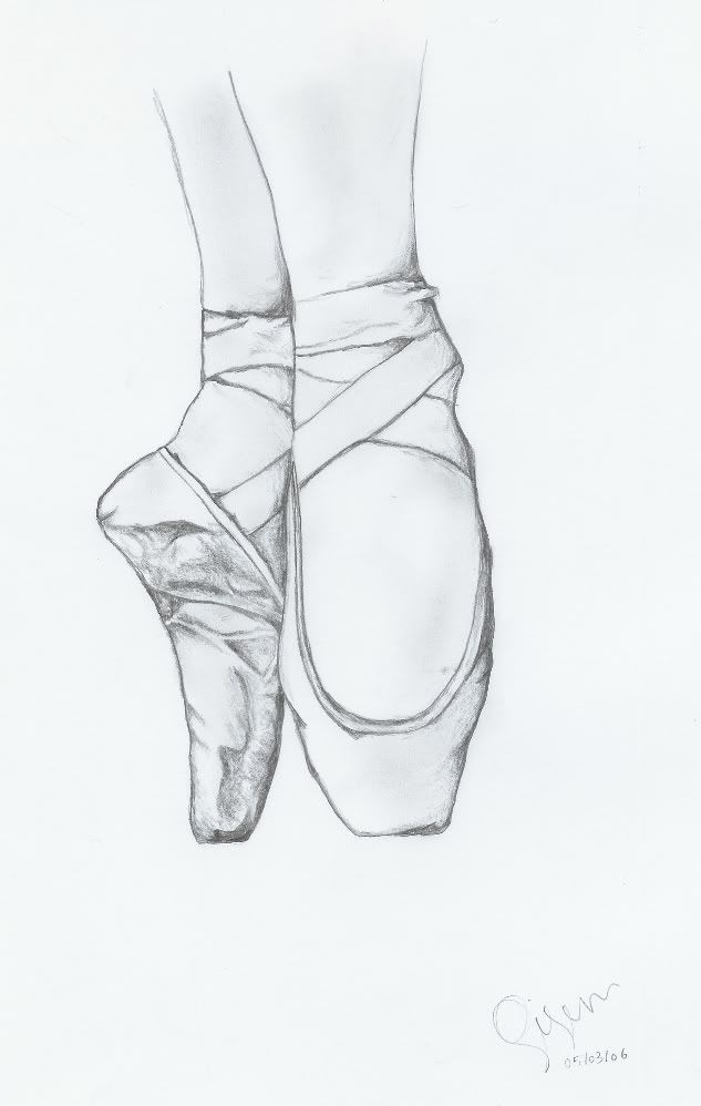 how to draw ballerina shoes