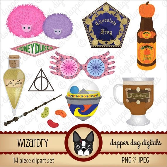 Harry Potter Inspired Clipart Set Wizardry - Commercial Use, Digital Clipart, Digital Images