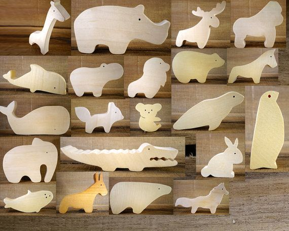 Choose 4 Wooden Animals // Montessori Toys // Nursery décor // baby wooden toys // imagination kid // Elephant - Bear // waldorf