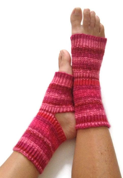 Yoga Socks Hand Knit in Raspberry Pedicure by MadebyMegShop, $35.00 #yogasocks #fashion #trends #toeless #flipflopsocks #dance #pedicure #pink #red #opentoed