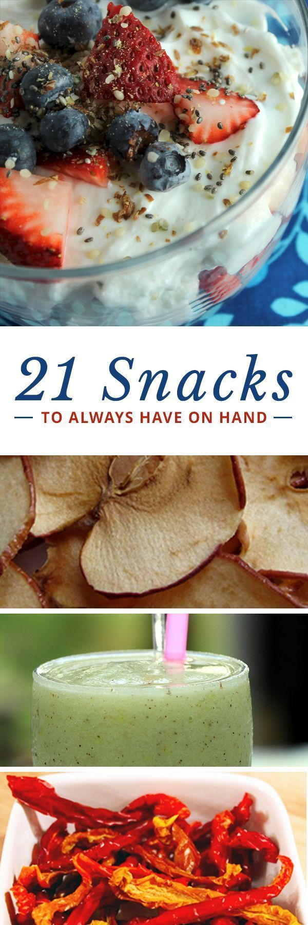 21 Low-Calorie Snacks to Always Have on Hand--snacks can help tide you over, provide needed nutrients, and keep your metabolism up throughout the day! #healthysnacks #cleaneatingsnacks #snackideas
