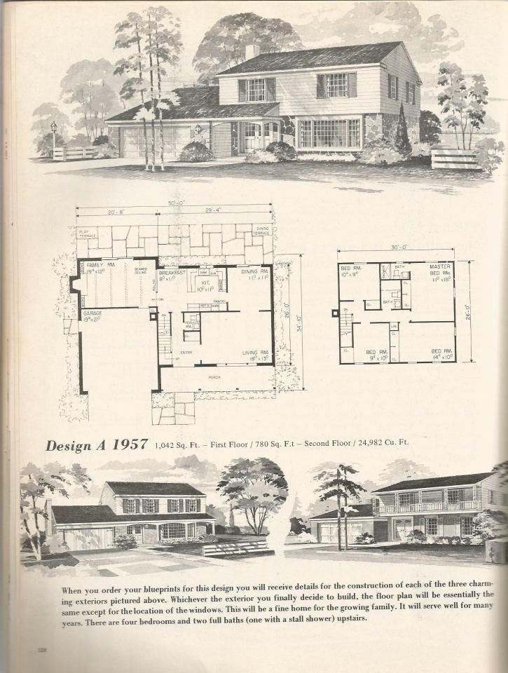Vintage House Plans, Mid Century Homes DESIGN A 1957