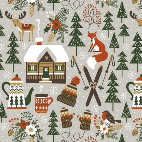 cozy chalet fabric by mirabelleprint on Spoonflower - custom fabric