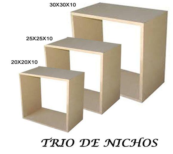 TRIO DE NICHOS MDF 15mm- CRU 30X25X20