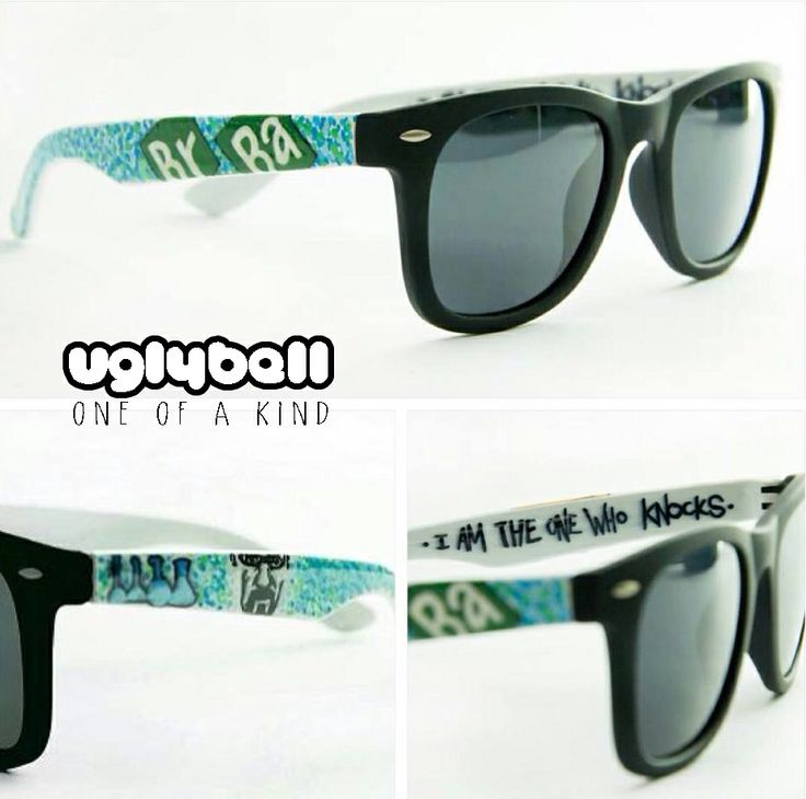 """We introduce you the second new goodie in our collection! These are """"Breaking Bad"""" Polarized Sunglasses  in a high quality frame with matte black frontside. Custom painted by hand with great attention to detail  using high quality paints. You dont have to worry about the colour protection because  we seal it with extra strong varnish.  Optical lenses can be put in the frame. """"I AM THE ONE WHO KNOCKS"""""""