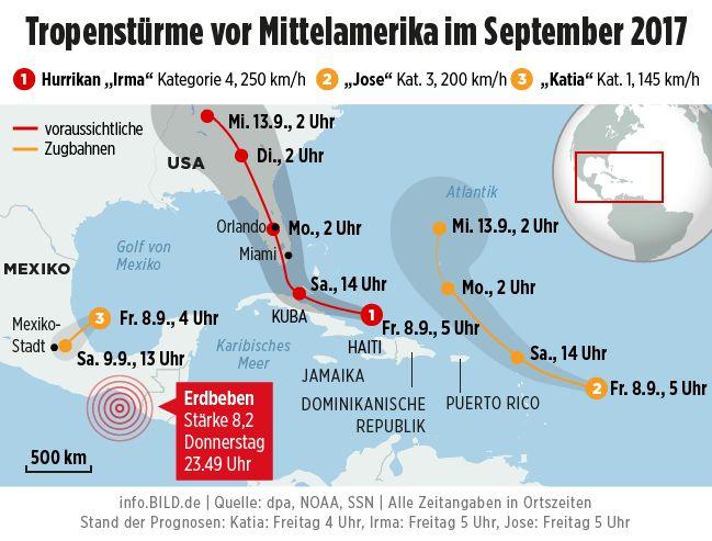 Hurrikan Irma steuert auf die USA zu - Einwohner Floridas sollen sich auf Evakuierung vorbereiten - News Ausland - Bild.de