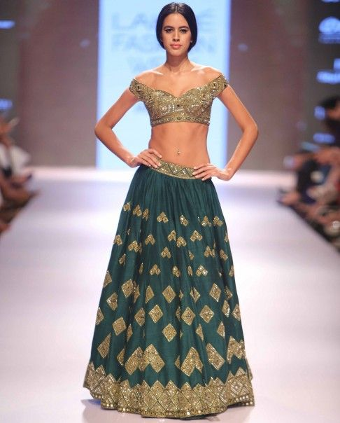 Teal Green Lengha Set with Mirror Work - Arpita Mehta - LFW Winter/Festive '15 - Off The Runway