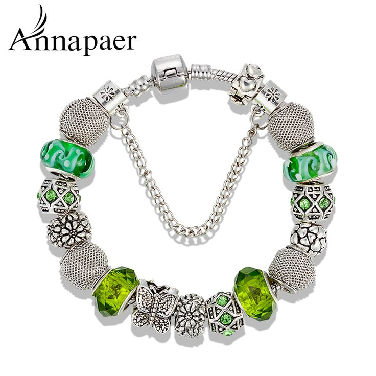 6 Colors Fashion DIY Jewelry Butterfly Charm Bracelets & Bangles 925 Silver…