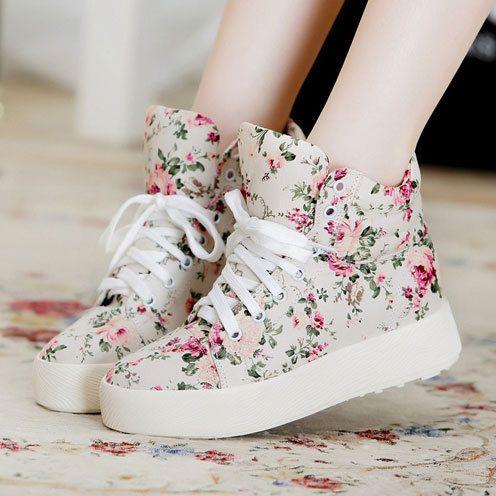 Floral Print High Top Platform Shoes Lace Up Canvas Sneaker♡