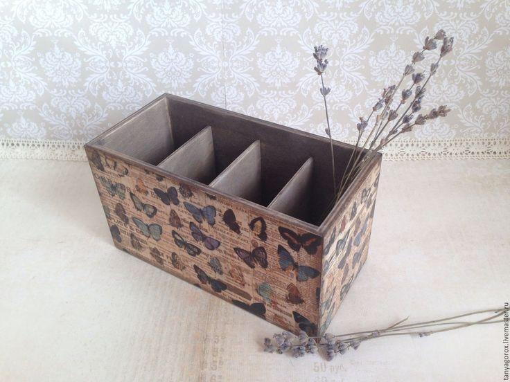 Купить Бабочки - настольная подставка - коричневый, подставка для украшений, подставка для карандашей, подставка для пультов