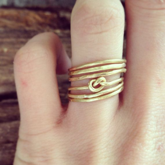 Six Textured Brass and Infinity Knot Stacking Rings by GramercyEight
