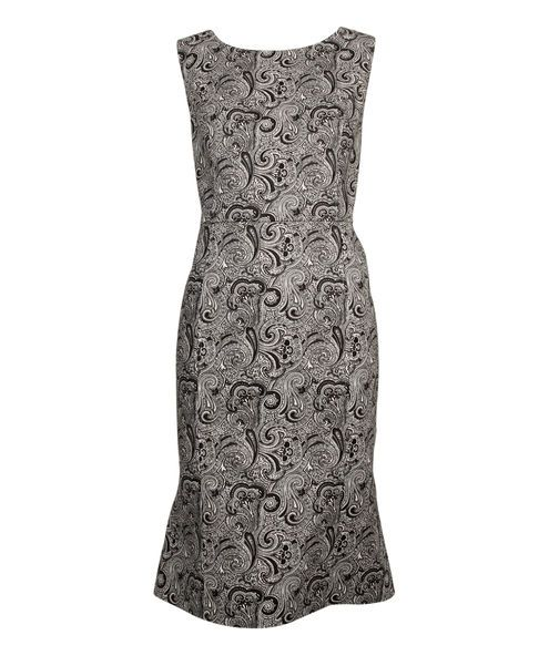 Paisley Sheath Dress, BLACK/WHITE, hi-res