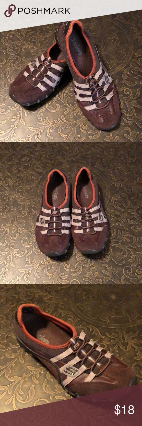Skechers Slip On Shoes Brown slip on shoes with tan & orange trim. In good used condition. Skechers Shoes