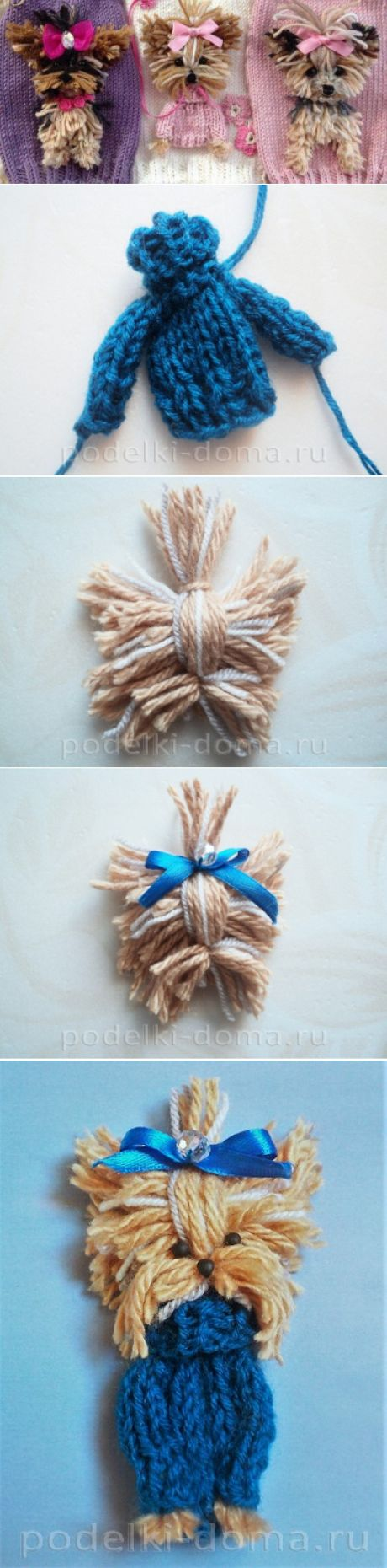 """Knitted application \""""Doggie Yorkshire terrier\"""""""