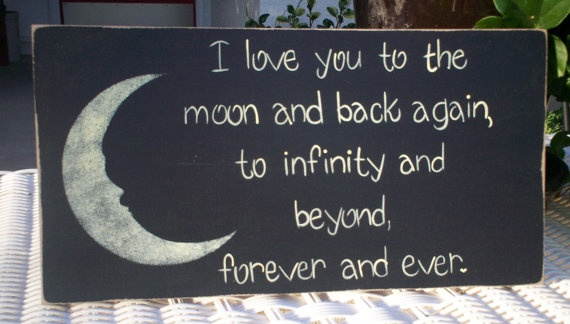 """Hand Painted Wooden Black Primitive Sign, """"I love you to the moon"""