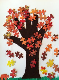 Fall tree craft using puzzle pieces for leaves - by Play Eat Grow (Altered book idea. Put family member names on puzzle pieces without direct links, representing all the fam without who is step-or-half-anything.)
