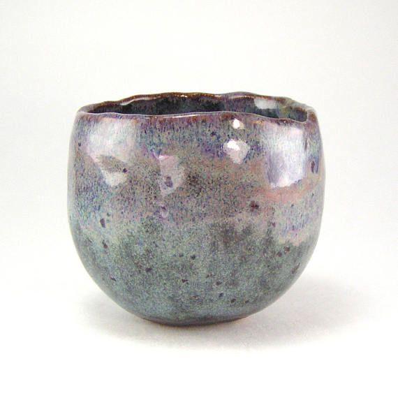 Small Tea Bowl, Purple Tea Cup, 4 ounce Teacup, Handleless Espresso Cup, Sake Cup Pinch Pot Wabi Sabi Teacup, Tiny Stoneware Vessel 12-16-09
