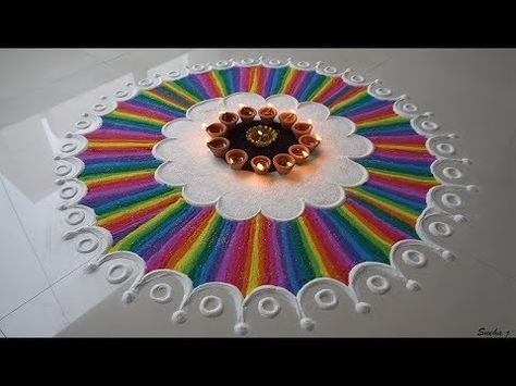 Beautiful and very different rangoli design. - YouTube