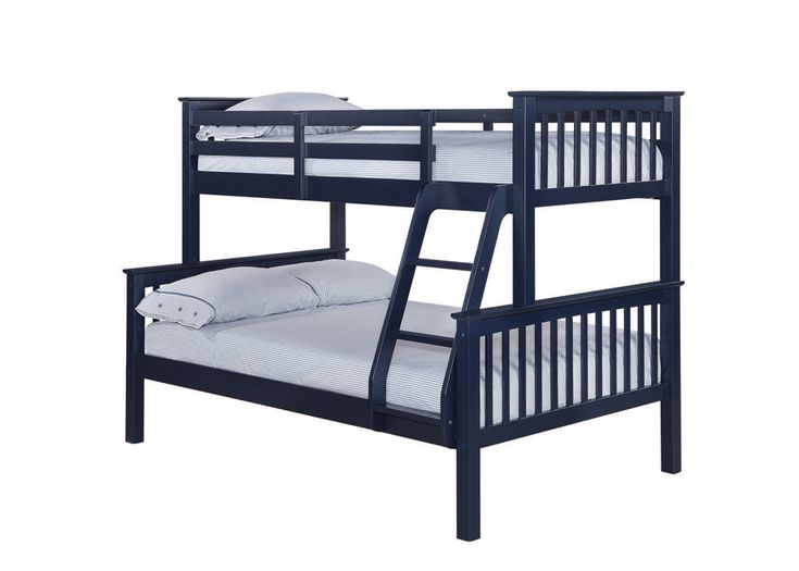 Otto Trio Bunk Bed Great for guestrooms, sleepovers and pyjama parties, this heavy duty triple sleeper offers superb versatility and can be configured either as a bunk bed or can be separated into a single and a small double(4'). Overall dimensions when assembled: Upper Bunk: L2040mm x W1010mm x H1502mm Lower Bunk: L1310mm x W1010mm Available in: Solid off White; Solid Navy Blue; Antique Wax Pine