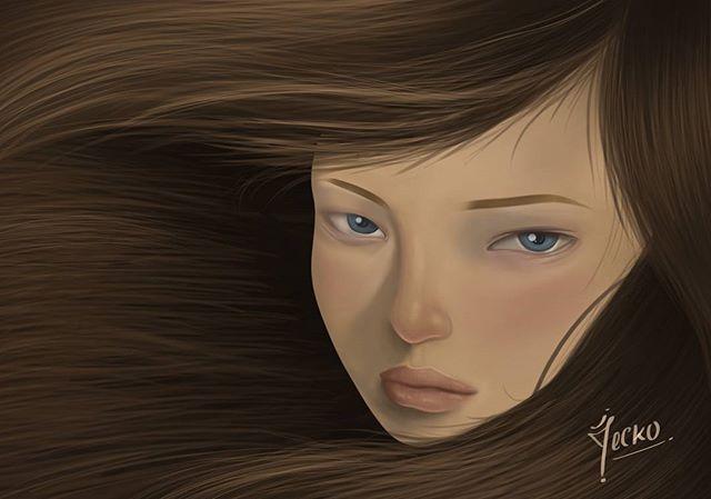 Practicando escalas cruzadas, cabello, niveles de saturación, tonos y luminosidad. Tomando de referencia una ilustracion de @audkawa #audrykawasaki realizado en el taller de #pinturadigital @mandarinaestudio #drawphotoshop #digitalpainting #pinturadigital #barranquilla
