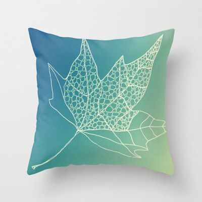 aqua blue green white leaf design printed on cushion cover throw pillow case cushions original unique cushions pillows covers gift for house