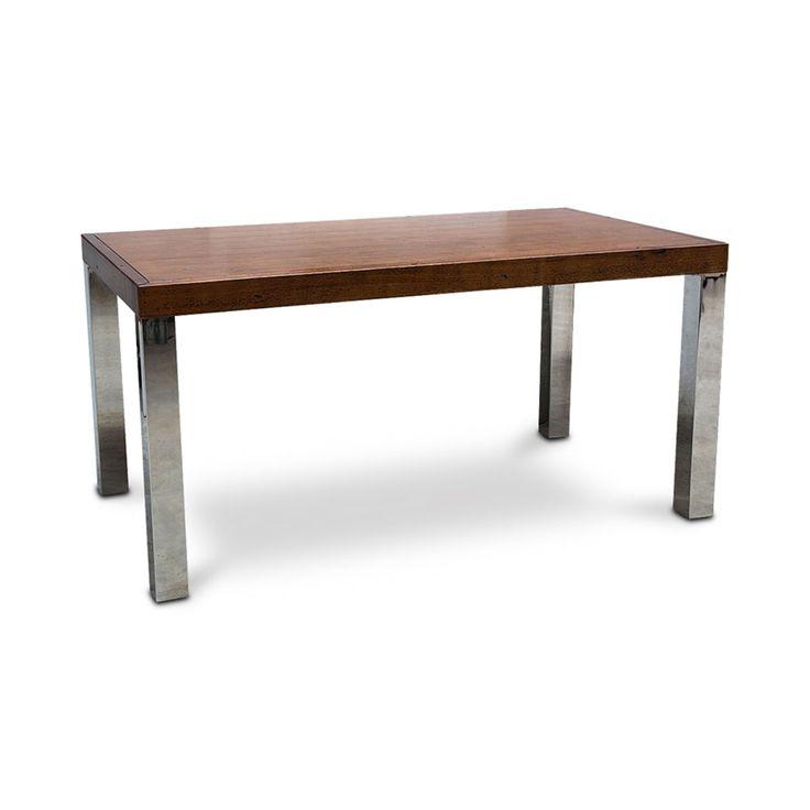 Mesa jantar steel wood retangular em inox e madeira laminada envelhecida -1,60x0,77x0,90m(lxaxp)