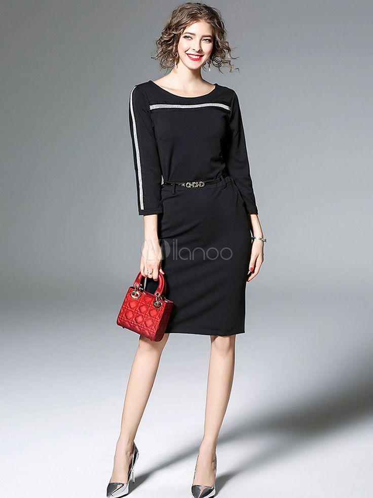 Éblouissante robe bodycon en acétate de cellulose noir col rond bicolore fendu moulant