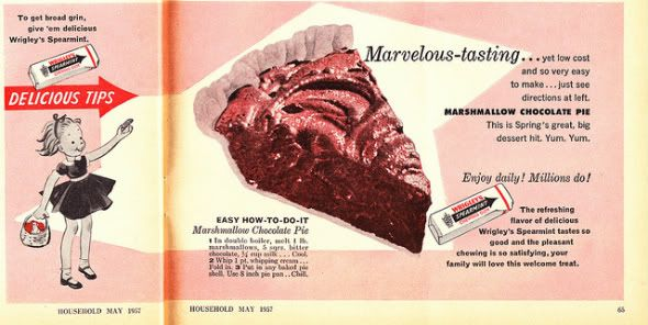 Chronically Vintage: 1950s chocolate marshmallow pie recipe is sure to satisfy any sugar craving! :)