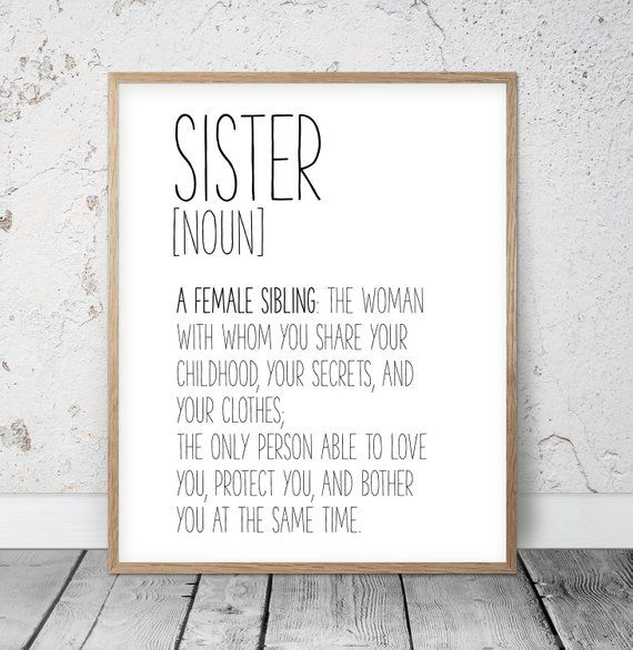 Sister Definition Sign, Funny Definition Wall Art, Sister