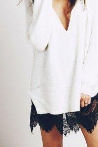 Pull blanc & robe noire