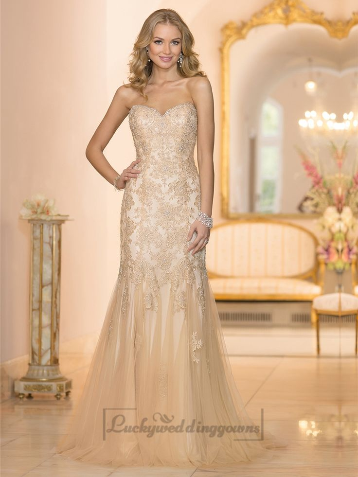 Elegant Fit and Flare Beaded Sweetheart Lace Appliques Wedding Dresses