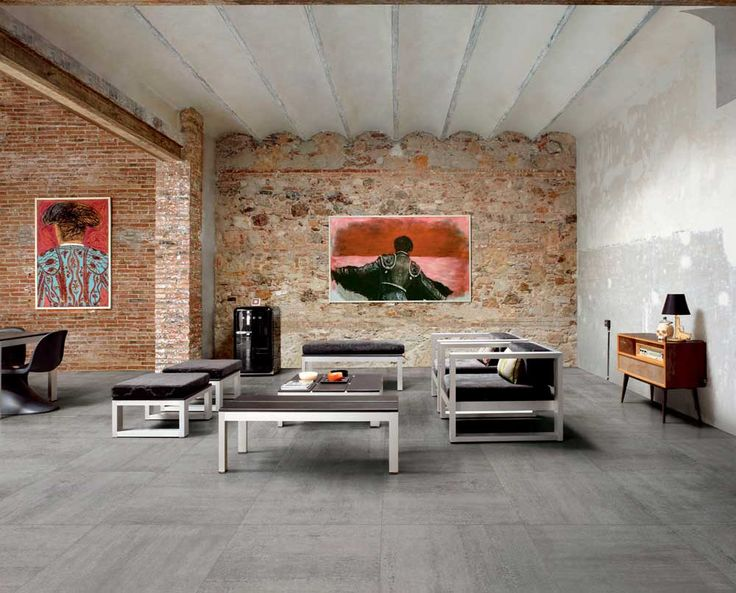 living room floor tile design ideas with grey color and brick wall
