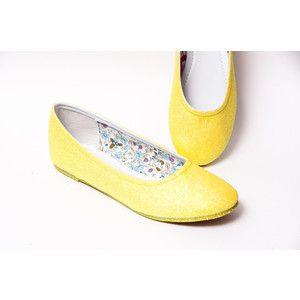 Glitter Lemon Drop Yellow Ballet Flat Slipper Shoes
