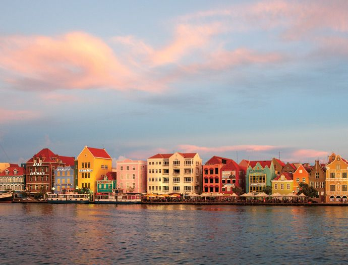#Curacao : A view of Handelskade street in downtown Willemstad.