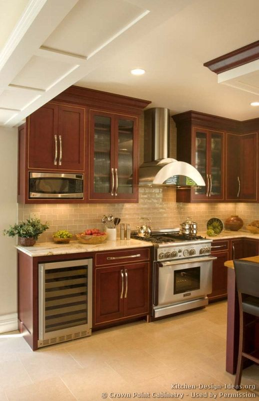 90 Best Cherry Color Kitchens Images On Pinterest  Kitchens Enchanting Dark Wood Cabinets Kitchen Design 2018